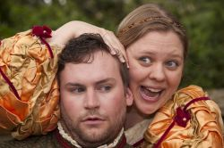 Matt Lipscomb as Antipholus of Ephesus and Molly Hood as Adriana