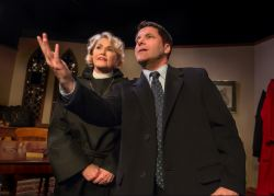 Linda Beringer (as Hannah) and Chris O'Neill (as Brandt) share a moment before heading into church