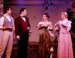 Ian Stearns as Algernon Moncrief, Thomas Cunningham as Jack Worthing, Audra Honaker as Gwendolen Fairfax, Aly Wepplo as Cecily Cardew