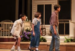 Henry Boyle as Dill, Molly Nugent as Scout, and Nick Dauley as Jem